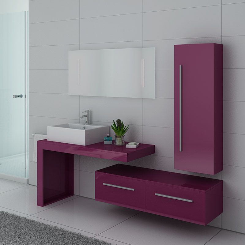 Meuble 1 vasque aubergine, meuble de salle de bain aubergine DIS9250AU -  Salledebain Online