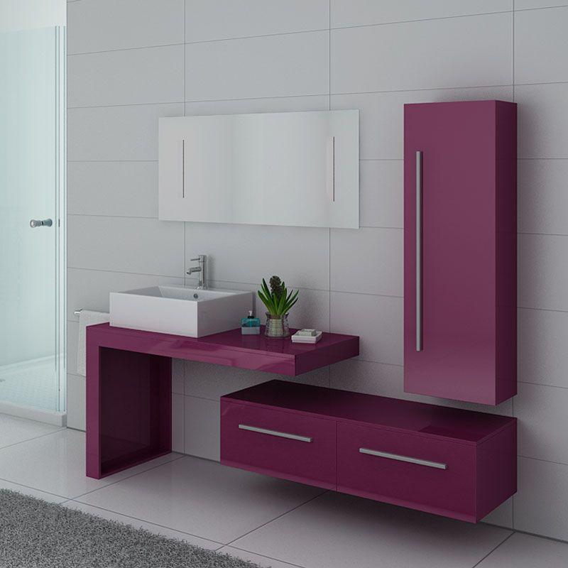 Meuble salle de bain simple vasque DIS9250AU Aubergine
