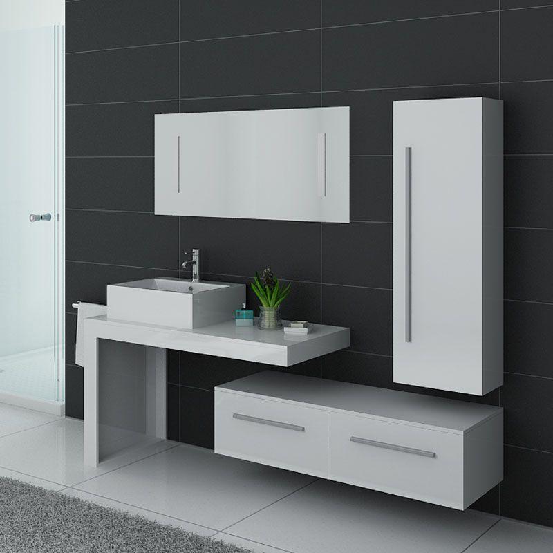 Meubles blancs de salle de bain 1 vasque meuble blancs de - Meuble salle de bain mdf ...