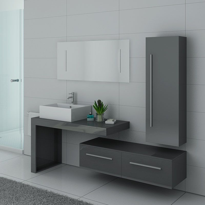 Ensemble meuble simple vasque gris moderne DIS9250GT