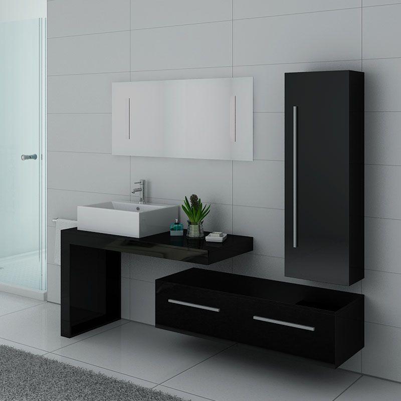 Meuble simple vasque avec placards noir brillant DIS9250N