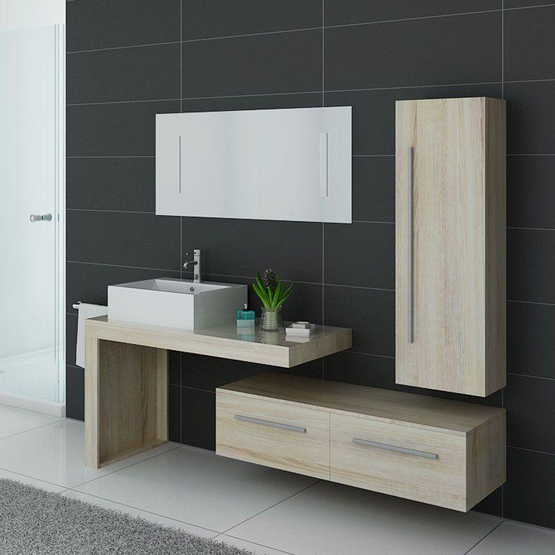Meuble de salle de bain couleur bois naturel, meuble de salle de bain  tendance DIS9250SC