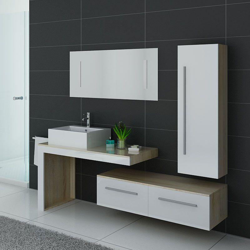 Meuble salle de bain DIS9250SC-B scandinave avec façades blanches