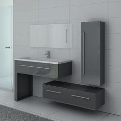 Meuble gris 1 vasque avec colonne, meuble bas et grand miroir DIS9251GT