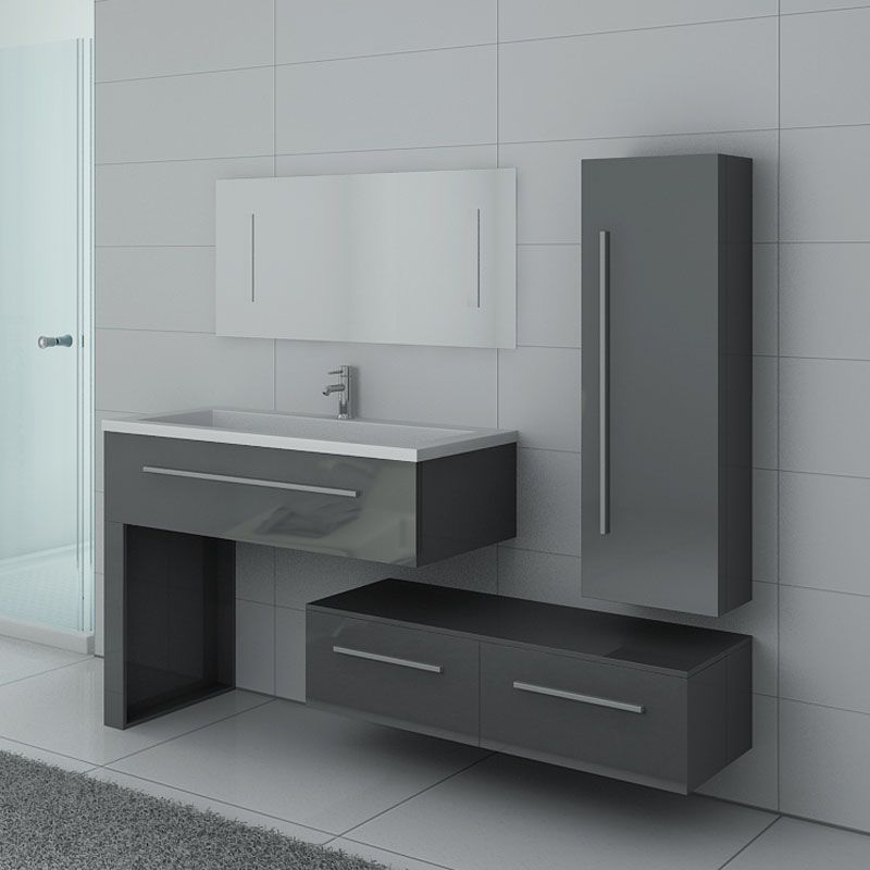 Meuble salle de bain simple vasque gris avec nombreux rangements DIS9251GT