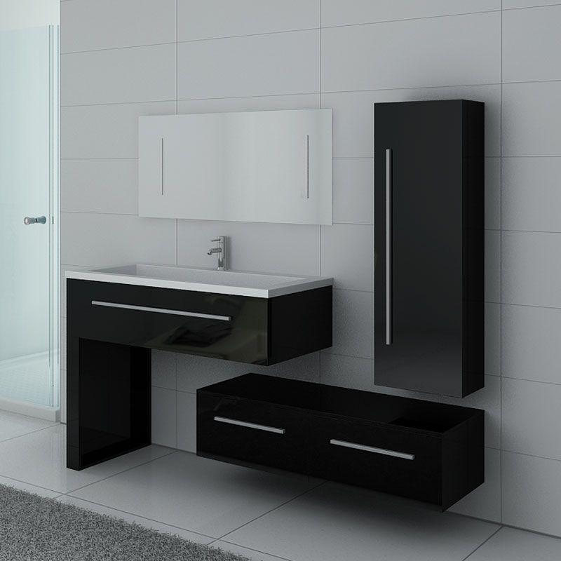 Meuble noir 1 vasque avec colonne, meuble bas et grand miroir DIS9251N