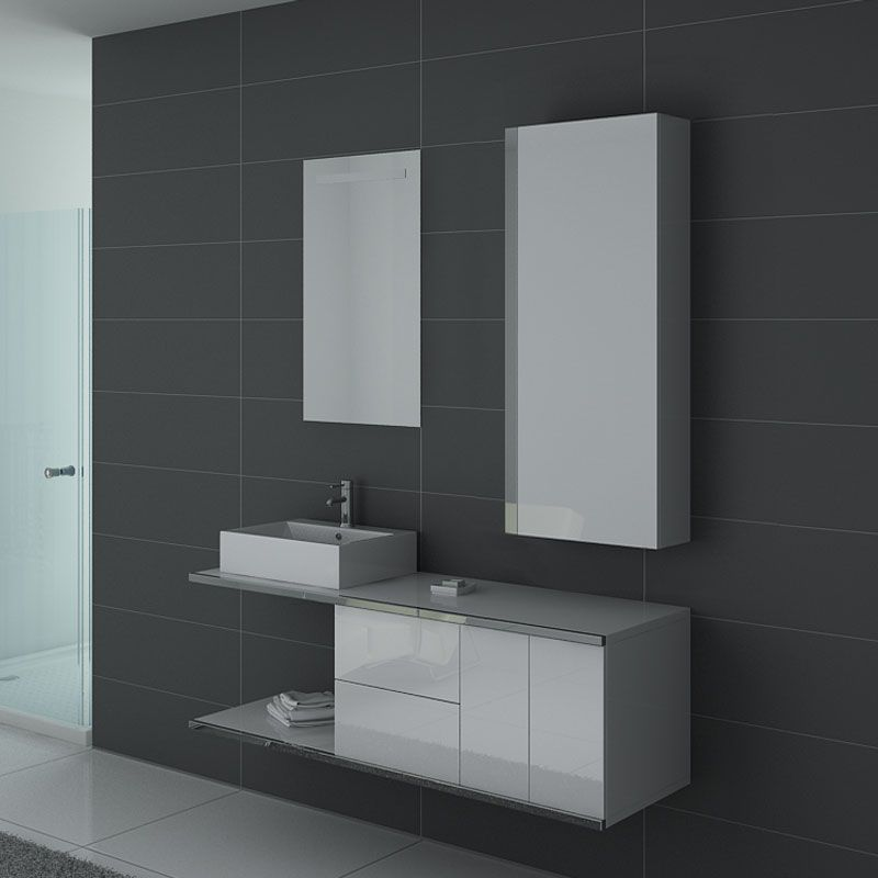 Ensemble salle de bain DIS9450B Blanc et inox