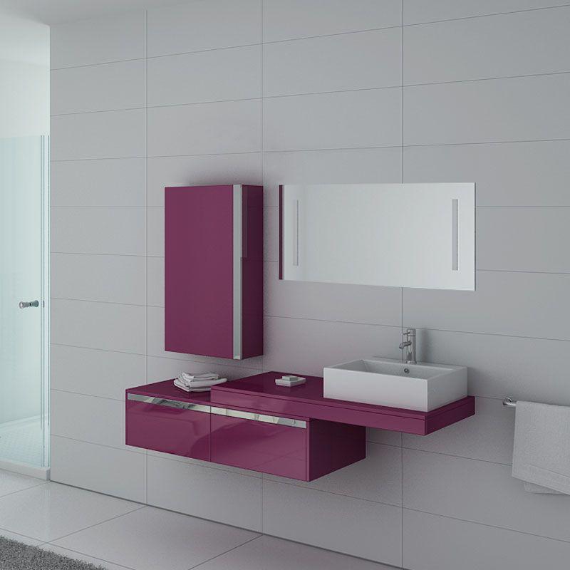 Meuble de salle de bain aubergine 1 vasque, meuble de salle de bain  aubergine DIS9550AU