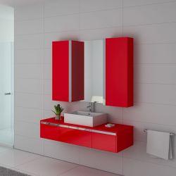 Meuble salle de bain DIS9650CO rouge Coquelicot top tendance