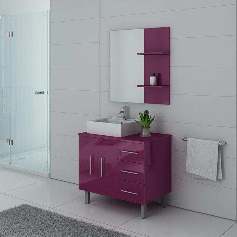 Meubles salle de bain FLORENCE Aubergine