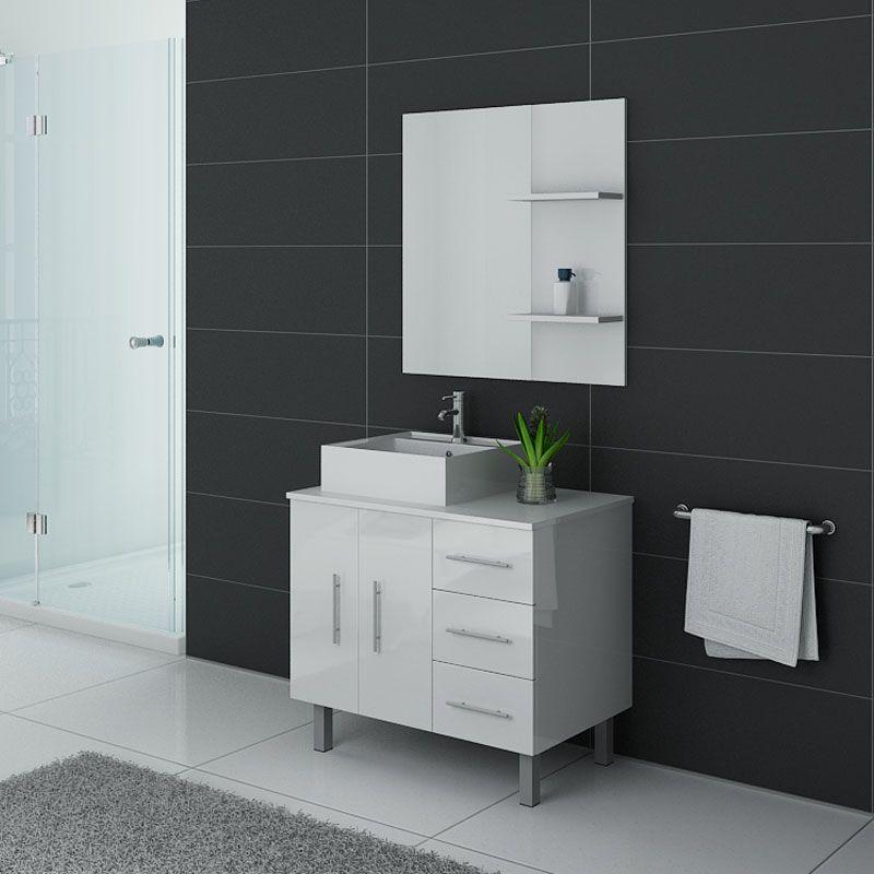 Meuble salle de bain sur pieds FLORENCE Blanc