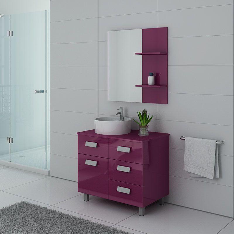 Meuble salle de bain simple vasque MILAN Aubergine