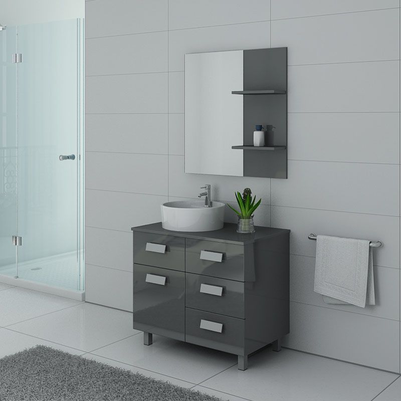 Meuble salle de bain MILAN Gris Taupe sur pieds