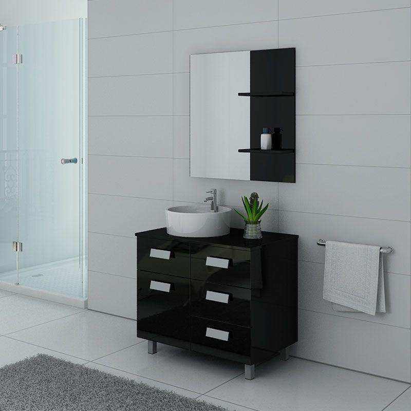 Meuble de salle de bain sur pieds MILAN Noir