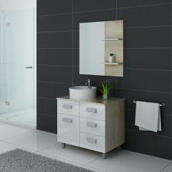 Meuble simple vasque MILAN Scandinave et Blanc