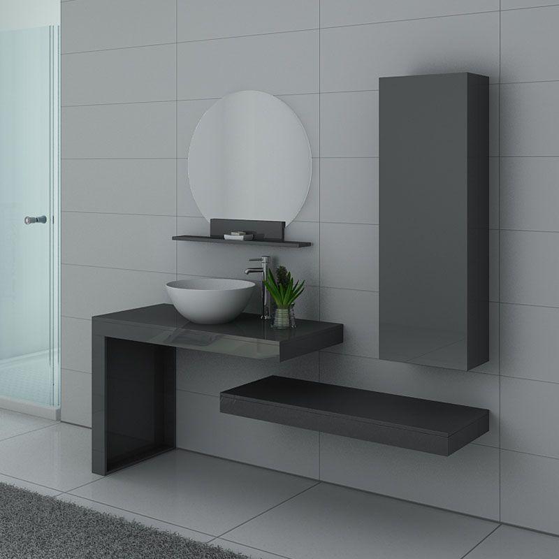 Meuble de salle de bain gris taupe, meuble de salle de bain gris laqué Monza