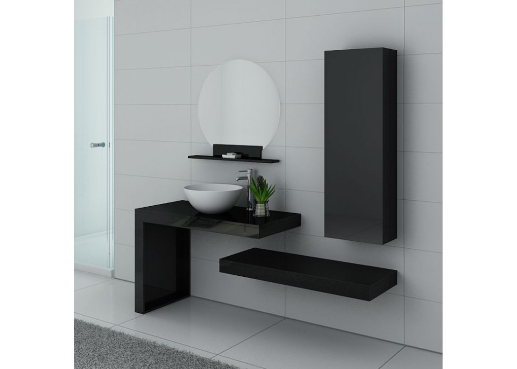 meuble de salle de bain noir japonais 1 vasque meuble de. Black Bedroom Furniture Sets. Home Design Ideas