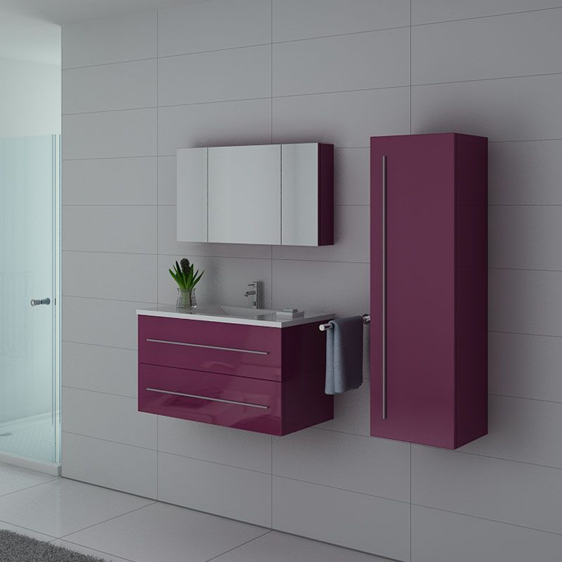Meubles salle de bain NOVA AU Aubergine