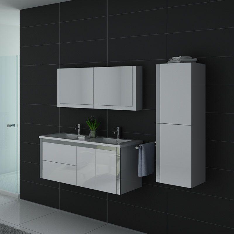 Meubles salle de bain double vasque DIS025-1200B blanc