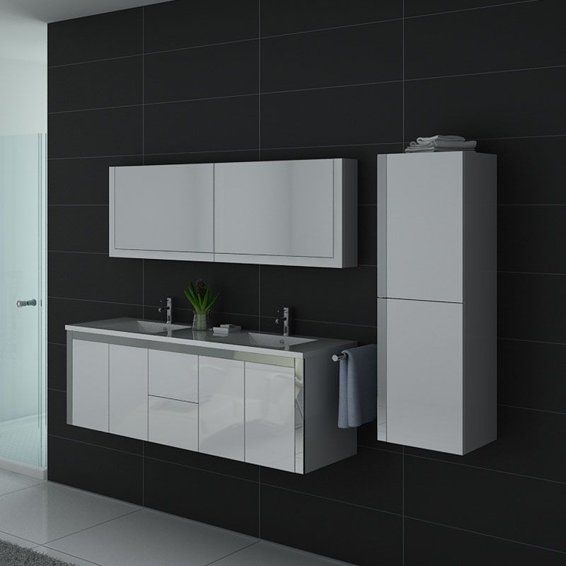 Meuble de salle de bain 2 vasques blanc avec armoire et placard DIS025-1500B