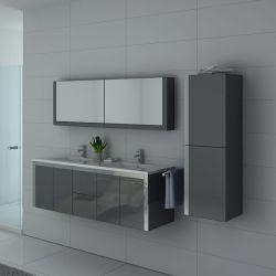 Grand meubles de salle de bain gris avec inox 2 vasques DIS025-1500GT