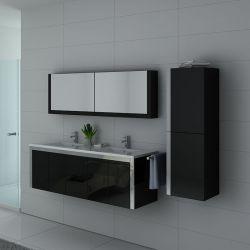 Grand meuble bain noir brillant avec rangements 2 vasques DIS025-1500N