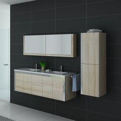 Meuble de salle de bain 2 vasques scandinave avec armoire et placard DIS025-1500SC