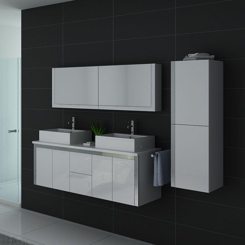 Meuble de salle de bain double vasque DIS026-1500B blanc