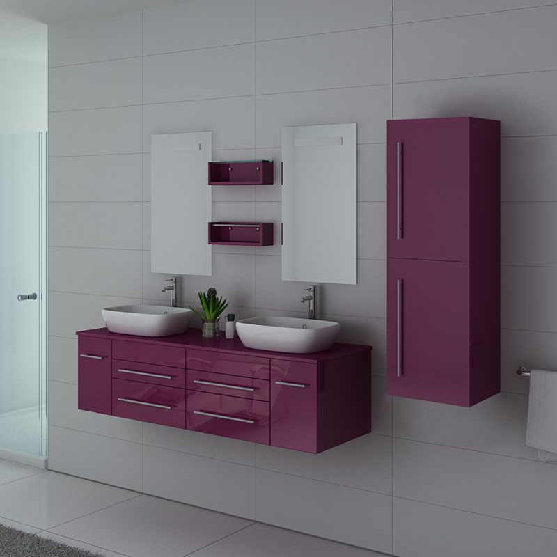 Meuble de salle de bain couleur aubergine 2 vasques, meuble de salle de  bain aubergine ref: DIS748AU