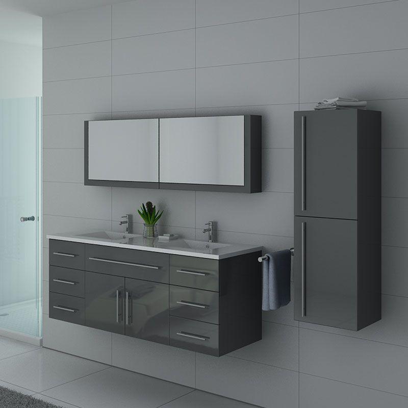 Meuble sous vasque gris pour salle de bain, meuble sous vasque gris  DIS749GT - Salledebain Online