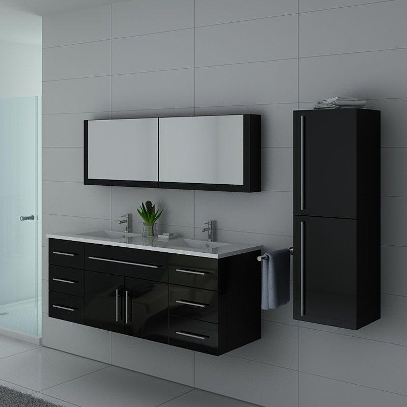 Meubles salle de bain Noir laqué DIS749N
