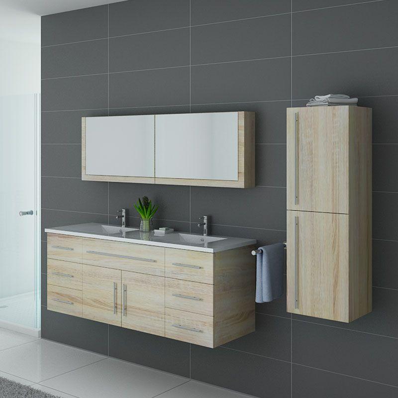 Meuble de salle de bain bois clair double vasque, meuble de salle de bain  bois clair DIS749SC