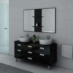 Meuble de salle de bain noir brillant sur pied DIS911N