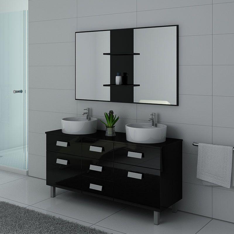 Meuble de salle de bain 2 vasques sur pieds, meuble 2 vasques noir sur pieds