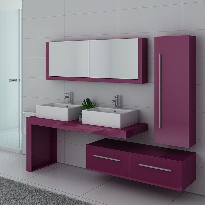 Meuble de salle de bain couleur aubergine DIS9350AU, meuble 2 vasques  aubergine