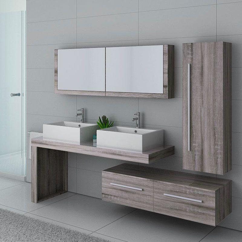 Meuble de salle de bain chêne gris, meuble de salle de bain design gris  DIS9350CG