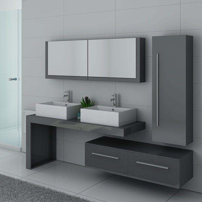 Meuble de salle de bain gris taupe double vasque, meuble de salle de bain  gris taupe ref: DIS9350GT