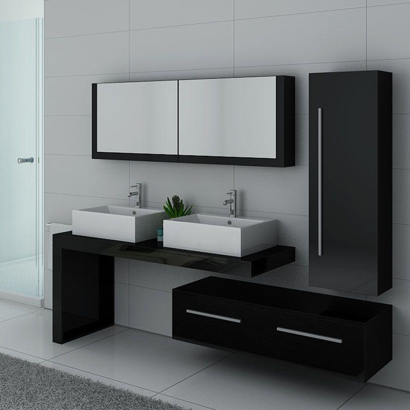 Meuble de salle de bain double vasque noir laqué, meuble de salle de bain  noir laqué bref DIS9350N
