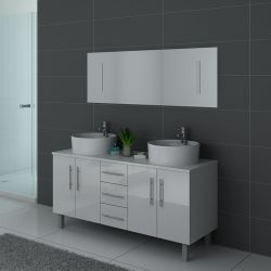Meuble de salle de bain sur pieds blanc 2 vasques DIS989B