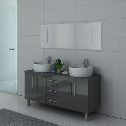 Meuble gris sur pied pour salle de bain 2 vasques DIS989GT