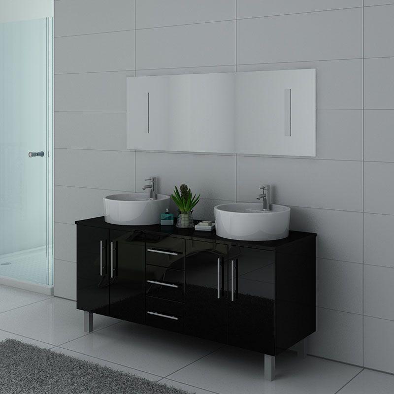 Meuble double vasque noir, meuble de salle de bain double vasque à poser  DIS989N