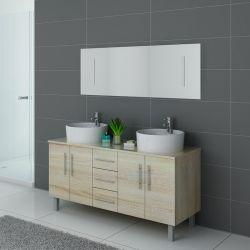 Meuble de salle de bain 2 vasques bois clair DIS989SC