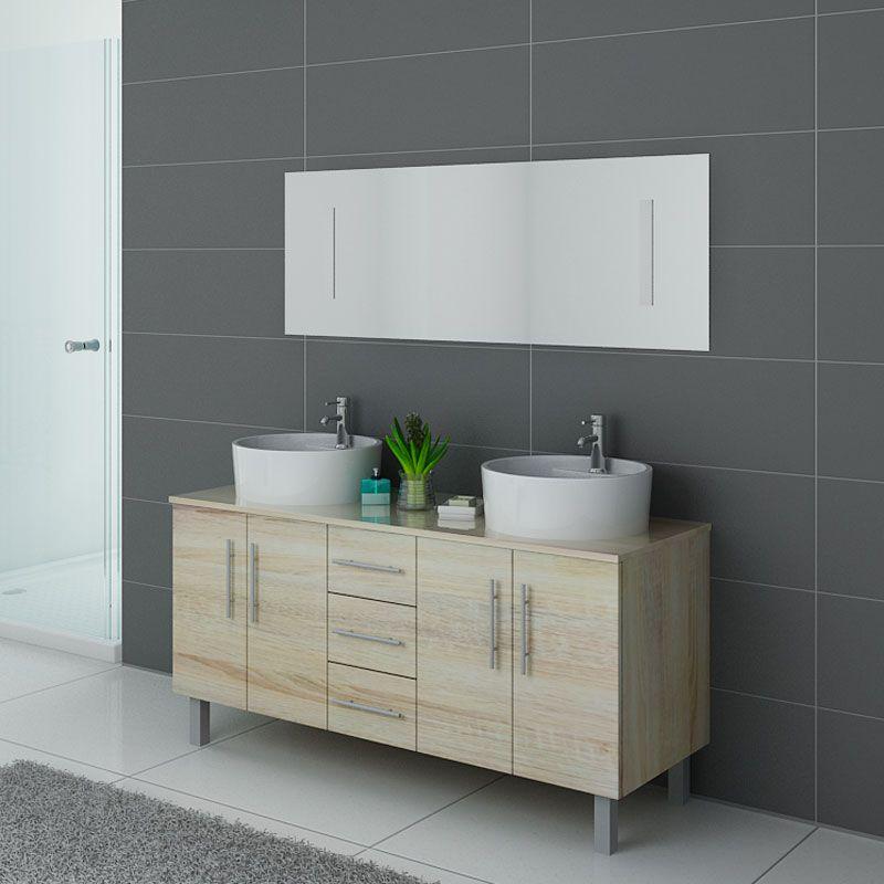 Meuble double vasque style scandinave DIS989SC et son grand miroir