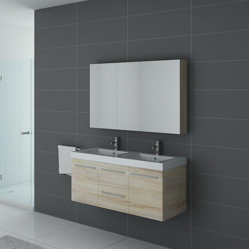 Ensemble de salle de bain suspendu sans colonne Palerme bois scandinave