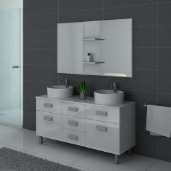 Meuble de salle de bain blanc double vasque sur pied DIS911B
