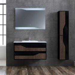 Meuble salle de bain URBINO 1000 Chêne Foncé et Noir