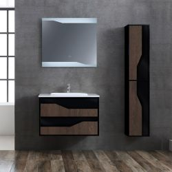 Meuble salle de bain URBINO 800 Chêne Foncé et Noir