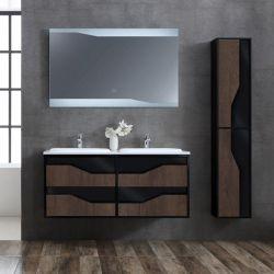 Meuble salle de bain URBINO 1200 Chêne Foncé et Noir