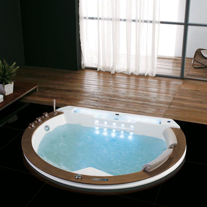 Belle baignoire balneo ronde originale encastrable Santorin-E