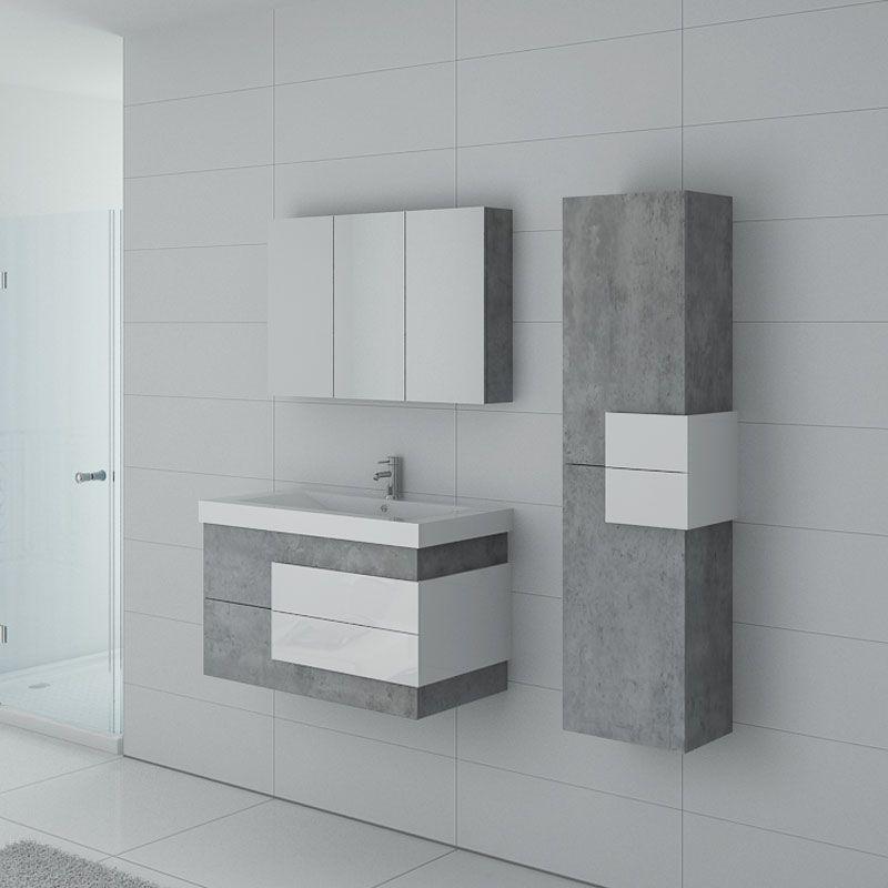 Meuble salle de bain ARCOLA Béton et blanc